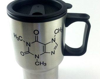 caffeine molecule structure travel mug, coffee cup, coffee mug, chemist gift