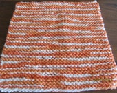 Knit Dishcloth, Autumn, Orange, White, Cotton,Gift Ideas, Kitchen, Thanksgiving, Fall, Bath & Beauty, Wash Cloth, Wedding, Hostess Gift