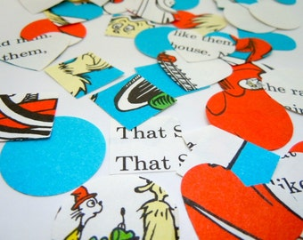 100 Piece Dr. Seuss Confetti - Vintage Children's Book - Party Decor - Baby Shower Decor  - Table Decor - Mixed Shape Book Confetti