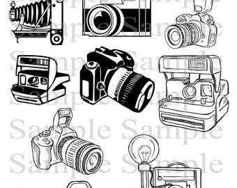 Camera Clipart Clip Art, INSTANT DOWNLOAD Photography Logo Elements, Stamps, Retro Camera Clip Art, Vintage Camera Clip Art