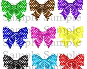 Polka Dot Bow clip art digital clip art INSTANT DOWNLOAD colorful bows - Digital Bow ClipArt - Personal Commercial Use