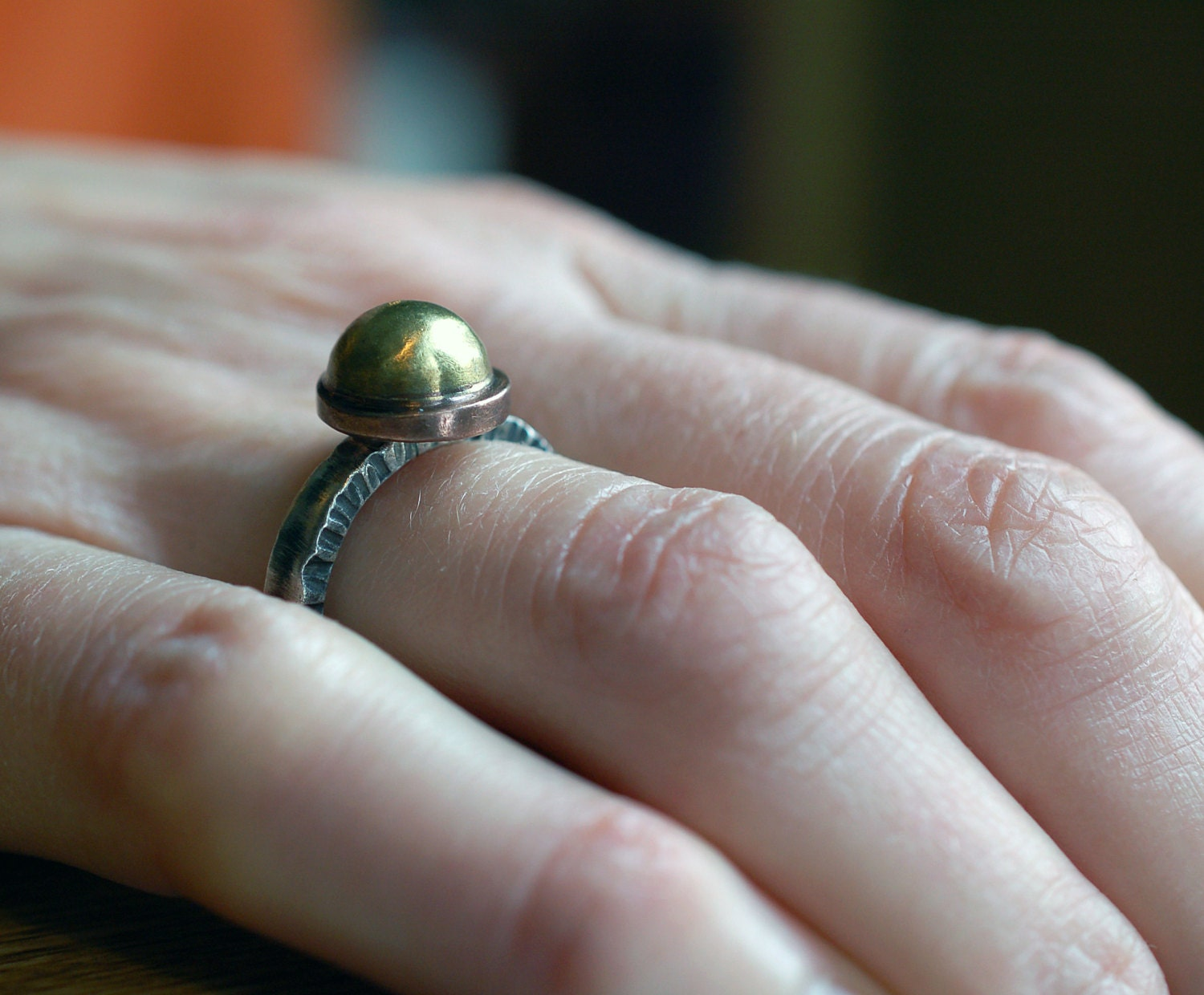 gold and silver and copper ring hammered silver ring dome