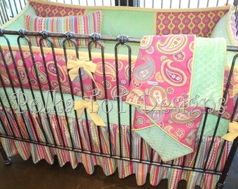 Baby Bedding For Girl:  Shelby Crib set features bright paisley print