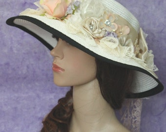 A White Weave Spring Summer ,Church Hat ,Bowler Derby Hat With Beige satin And Flowers