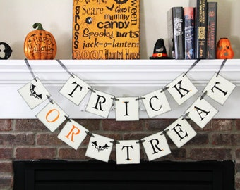 Trick or Treat Banner Halloween Banner Halloween Garland Halloween Decoration Halloween Decor Fall Decoration Fall Decor Fall Banner