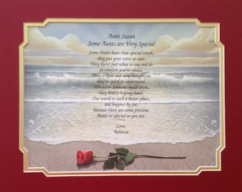 """Gift for Aunt - Personalized """"For a Very Special Aunt"""" Poem Birthday Rose on Beach"""