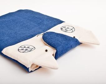 Blue iPad Case, iPad Sleeve Case, iPad bag, Cat, iPad Air, iPad 1, iPad 2, iPad 3, iPad 4