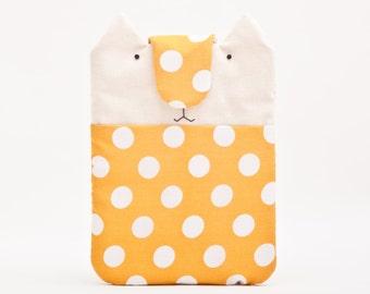 Handmade Ipad mini 3 Case, For iPad mini 8.4 x 6.6 in., Cat iPad mini 4 Cover, Yellow iPad mini sleeve, Gift for girl friend