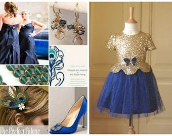 G o l d - B l u e  Flower girl Dress Wedding Bridesmaid Sparkle Sequin Pageant Party Bridal Tulle