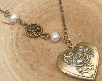 Antique Brass Infinity Pearl Locket Necklace Victorian Jewelry Gift Vintage Style
