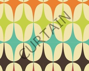 "Pair of Rod Curtain Panels, 80's Pattern 51""x78"" Drapery Window Treatments Set SALE"