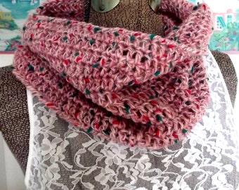 Handmade Crochet Cowl, Pink Frosting with Sprinkles, Pinks Green, Collar, Scarflet