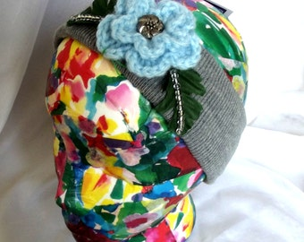 Crochet Ear Warmer, Crochet Headband, Ladies Teens Hat, Gray, Light Blue, Flower, Beaded, Vintage Button, Winter, Ski Hat