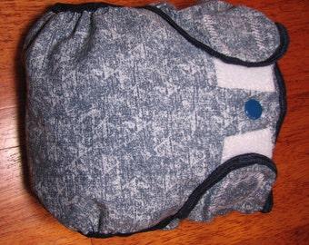 denim cloth diaper cover, waterproof PUL, medium