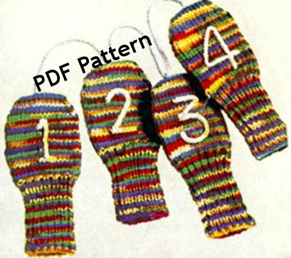 Knit Golf Club Sock Mitten Cozy Cover Mitt Classic Vintage