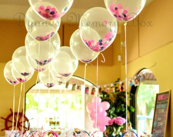 """Match your colors - 12"""" Biodegradable Clear Latex Confetti-Filled Balloons"""
