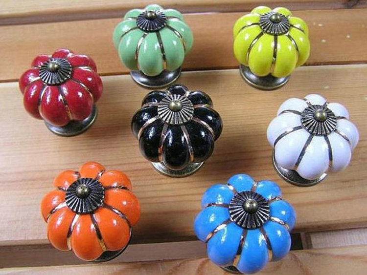 Black Ceramic Cabinet Knobs / Dresser Drawer Knobs Pulls