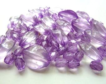 Transluscent Purple plastic bead mix
