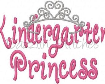 Kindergarten Princess Crown Embroidery Design Digital Instant Download 4x4, 5x7 and 6x10