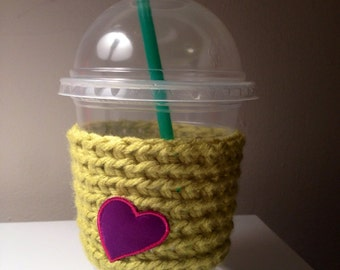 Clearance! Lime Green Crochet/Knit Coffee Sleeve/Cozy with pink & Purple Heart.