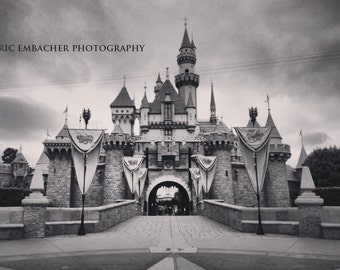 Disneyland Sleeping Beauty's Castle Still Life B&W 5x7