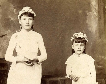 Antique cabinet card photograph of two young girls from KENOSHA Wisconsin -- CONFIRMATION old vintage photo ephemera