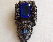 Sapphire blue rhinestone dress clip, filigree, Victorian, antique, jewelry, vintage, assemblage jewelry, dress clip, fur clips, bridal, blue