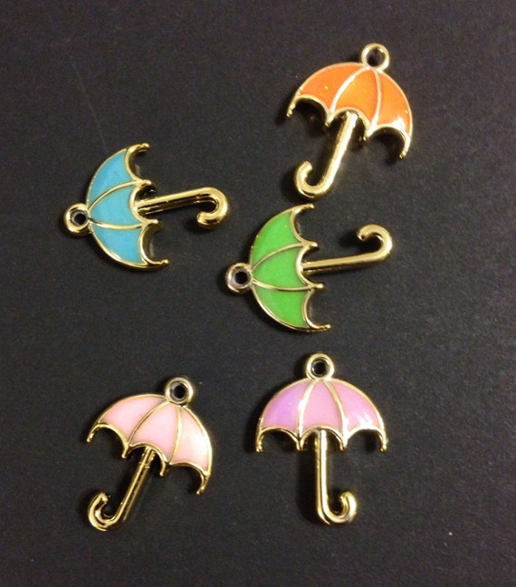 umbrella charm 5 arcrylic assorted colors charms by