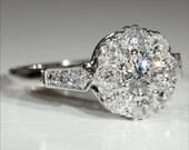 BLOW OUT SALE Vintage 18k and Platinum Art Deco Diamond Engagement Ring c.1930 - Video