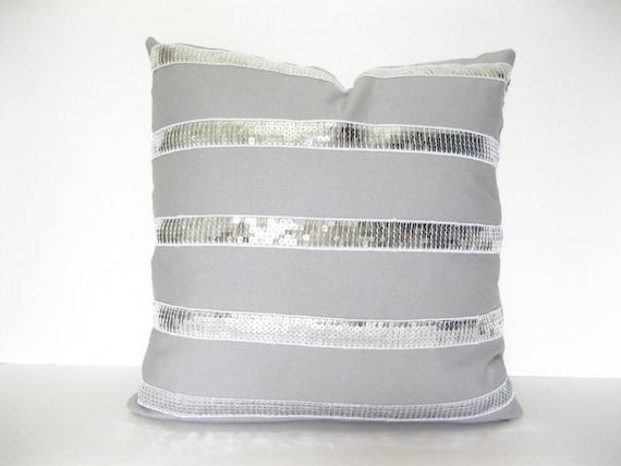 Gray Pillow. Sequin Pillow. Bling Pillow. Pillow with Trim. Silver Pillow. Modern Pillow.