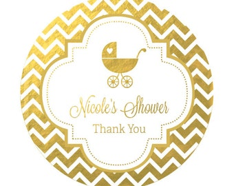 Gold Baby Shower Favor Labels - Birthday Favor Stickers - Pink and Golden Birthday Party Stickers (EB4007FB) set of 12|