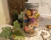 Vintage Kerr Canning Jar With Wood Thread Spools