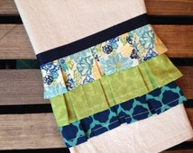 Ruffled Tea Towel - Aqua Green Navy - Kitchen Dish Towel