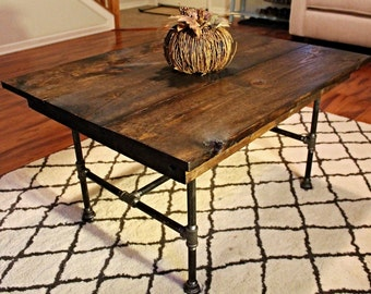 Steel and Pine Wood Coffee Table