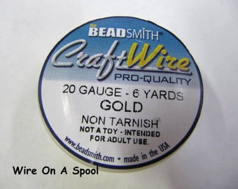 Gold Craft Wire 20 Gauge Round , Spool, Non-Tarnish, Gold Plated, 6 Yards, Beadsmith, Wire Wrapping, Soft Temper