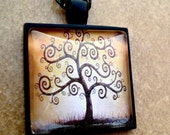 Tree of Life Glass and Black Pendant and Necklace - Earth Tones - Yoga Jewelry - Gift Box Included