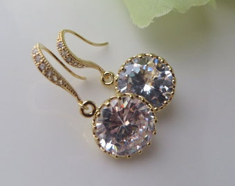 Round Zirconia,Bridal Earrings,AAA Clear Round Cubic Zirconia Earrings, Bridal Jewelry,Gold Framed Cubic Zirconia, Free US
