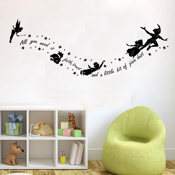 peter pan all you need is faith kids wall decal sticker vinyl. Black Bedroom Furniture Sets. Home Design Ideas