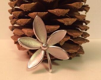 Vintage Trifari Silver Tone Flower Brooch