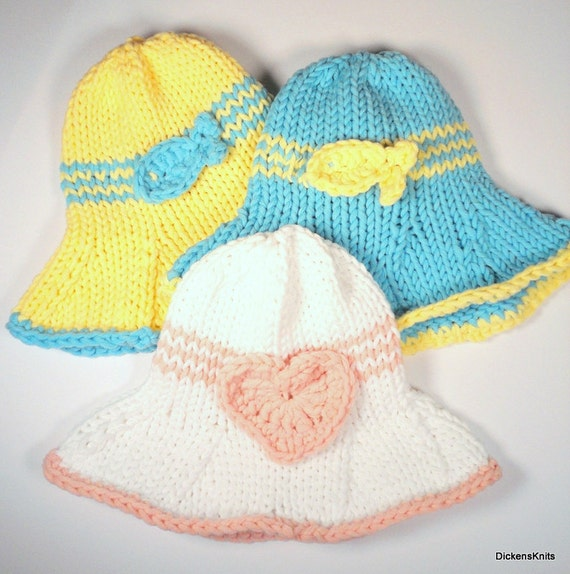 Knitting Pattern For Baby Sun Hat : PDF KNITTING PATTERN Cotton Baby Sun Hat Knit by DickensKnits
