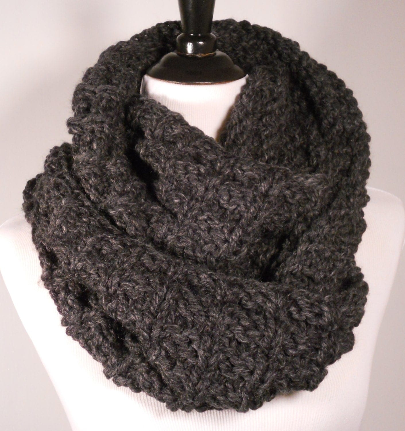 Black Knitted Infinity Scarf Knit Scarf Charcoal Black