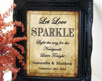 """Instant Download- Let Love Sparkle, Vintage Sparkler Send Off Wedding Sign, DIY Printable Jpeg PDF 8"""" x 10"""""""