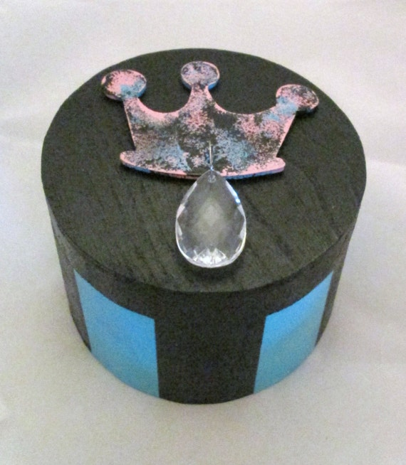 Painted Wooden Princess Jewelry Box with Crown and Charm, Keepsake Box