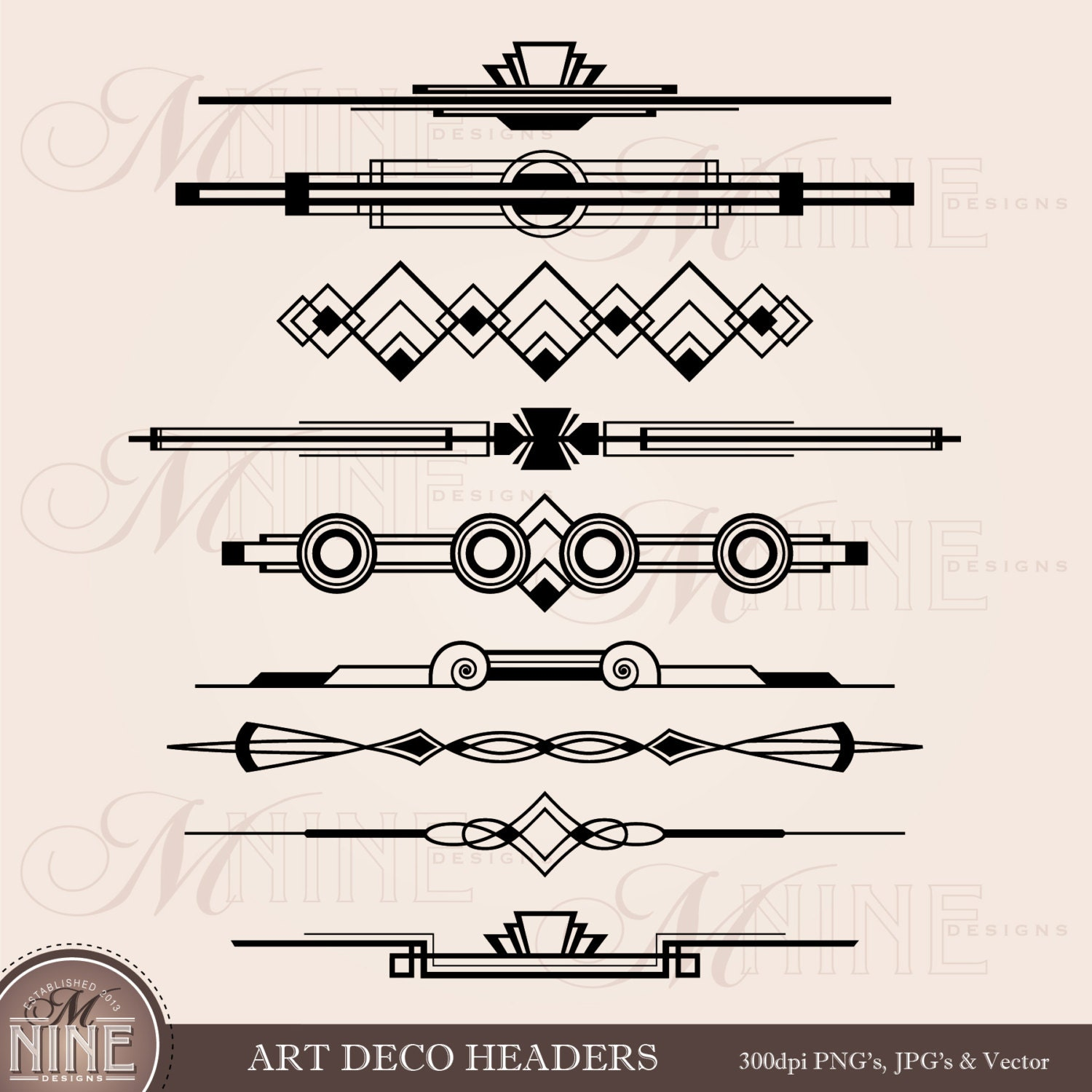 Line Art Box Design : Art deco header clip accent clipart