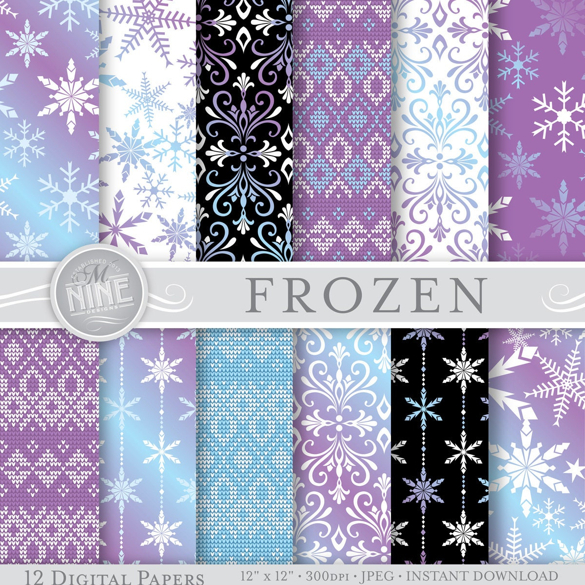 Frozen digital paper frozen pattern prints frozen winter for Themed printer paper
