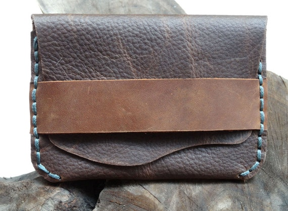 Men's leather wallet,Simple Slim Men's brown leather wallet, leather credit card, postcard sets, handmade