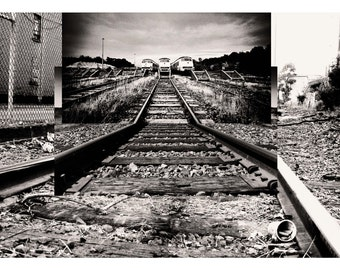 Intersecting Railroads I - Digital Collage print - choose from 5 different colour combinations