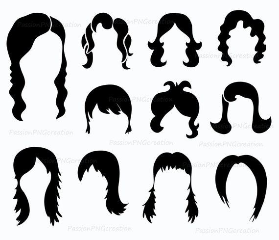 digital wig clipart photobooth props printable digital hair rh etsy com wing clip art free wig clipart black and white