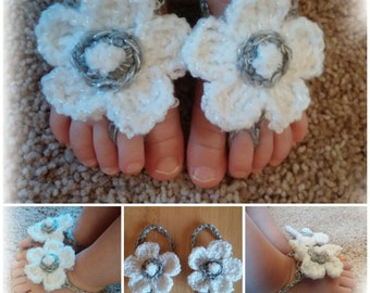 Crocheted Baby Barefoot Sandals