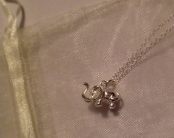 Chunky Sterling Silver Elephant Necklace